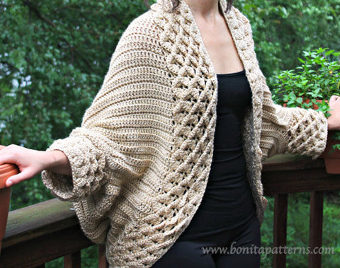 Crocodile Stitch Cardigan - Bonita Patterns