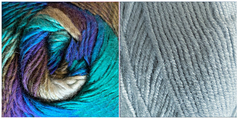 (NEW) CELESTIAL GREY + ALL BLUES - Embossed Natura Shawl KIT