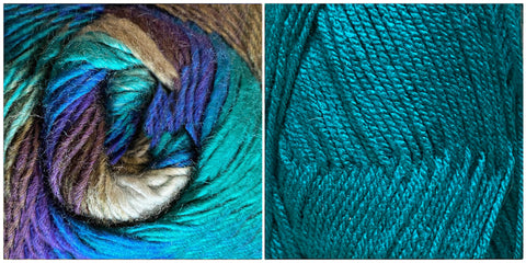TEAL + ALL BLUES - Embossed Fall Pocket Shawl KIT
