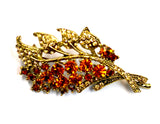 Antique Amber Gold Leaf Brooch