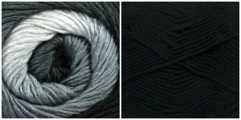 BLACK + PLATINUM - PREORDER Embossed Phoenix Vortex Shawl KIT - Bonita Patterns