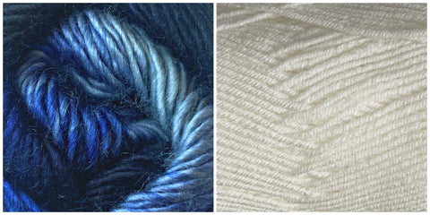 WHITE + BLUE SKIES - Embossed Phoenix Vortex Shawl KIT - Bonita Patterns