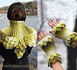 Duo Leafy Capelet & Fingerless Gloves
