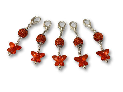 Butterfly B1 - #057 Set of 5 Stitch Markers - Bonita Patterns