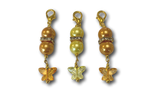 Butterfly B1 - #002 Set of 3 Stitch Markers - Bonita Patterns