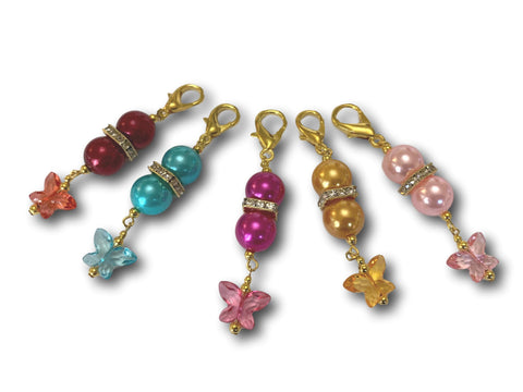 Butterfly B1 - #022 Set of 5 Stitch Markers - Bonita Patterns