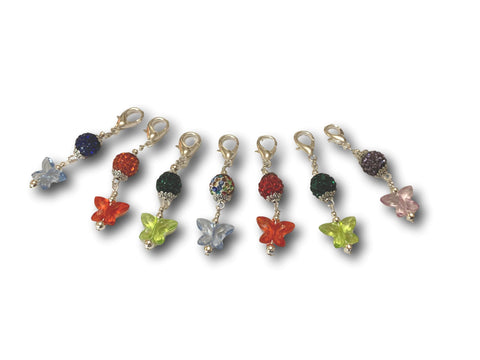 Butterfly B1 - #051 Set of 7 Stitch Markers - Bonita Patterns