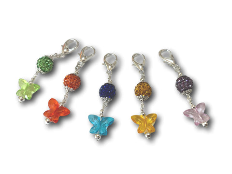 Butterfly B1 - #060 Set of 5 Stitch Markers - Bonita Patterns