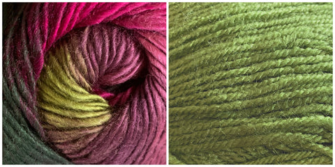 (100% ACRYLIC) GREEN + CALLA LILY - Calla Lily Shawl KIT - Bonita Patterns