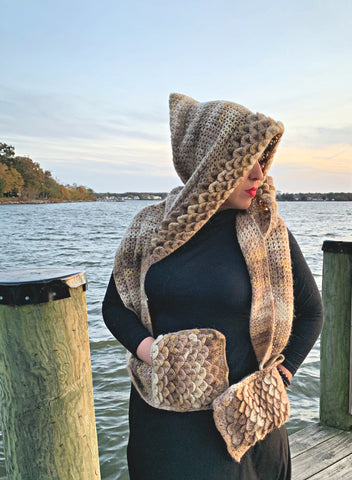 Crocodile Stitch Hooded Scarf - Bonita Patterns