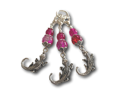 Crocodile M3 - #072 - Set of 3 Stitch Markers - Bonita Patterns