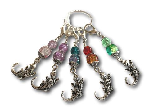 Crocodile M3 - #064 - Set of 5 Stitch Markers - Bonita Patterns