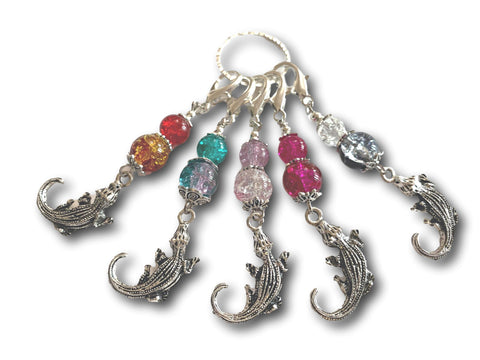 Crocodile M3 - #080 - Set of 5 Stitch Markers - Bonita Patterns