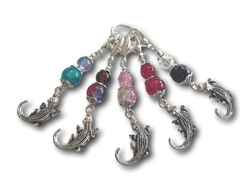 Crocodile M3 - #081 - Set of 5 Stitch Markers - Bonita Patterns