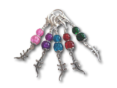 Crocodile M4 - #070 - Set of 5 Stitch Markers - Bonita Patterns