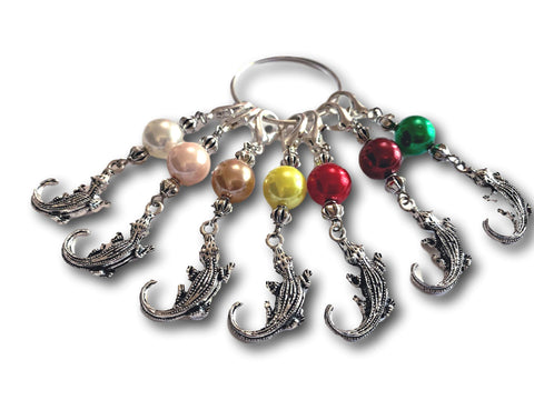 Crocodile M6 - #091 - Set of 7 Stitch Markers - Bonita Patterns