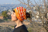 Crocodile Stitch Messy Bun Ponytail Hat