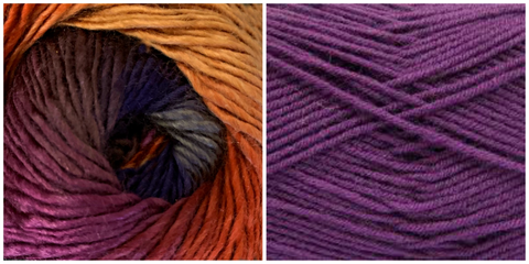 PURPLE + DELPHINIUM (100% ACRYLIC) - Embossed Natura Shawl KIT