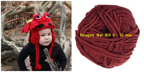 Crocodile Stitch Dragon Hat RED Kit (0-12 months) - Bonita Patterns