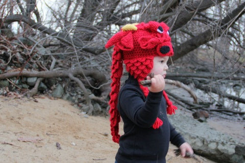 Crocodile Stitch Dragon Hat (Baby & Toddler Sizes) - Bonita Patterns