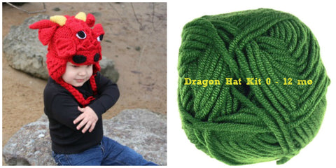 Crocodile Stitch Dragon Hat GREEN Kit (0-12 months)