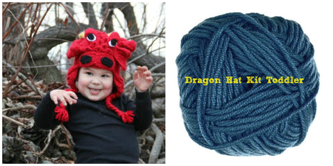 Crocodile Stitch Dragon Hat BLUE Kit Toddler Sizes - Bonita Patterns