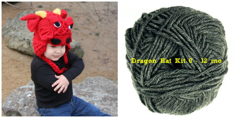 Crocodile Stitch Dragon Hat GREY Kit (0-12 months) - Bonita Patterns