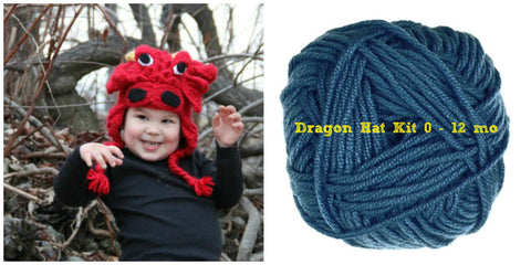 Crocodile Stitch Dragon Hat BLUE Kit (0-12 months) - Bonita Patterns