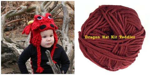 Crocodile Stitch Dragon Hat RED Kit Toddler Sizes - Bonita Patterns