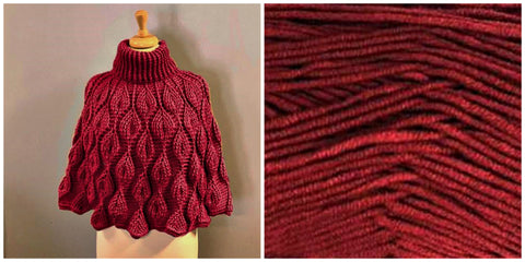 KIT Embossed Leaves Capelet - Red - Solid Fluffy - Bonita Patterns