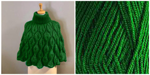 KIT Embossed Leaves Capelet - Green Leaf - Solid Colorful