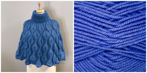 KIT Embossed Leaves Capelet - Blue- Solid Fluffy