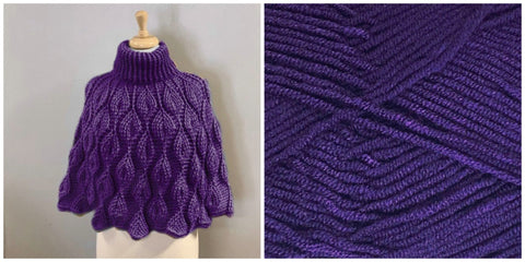 KIT Embossed Leaves Capelet - Purple - Solid Fluffy - Bonita Patterns