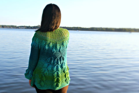 Embossed Leaves Seamless Cardigan - Bonita Patterns