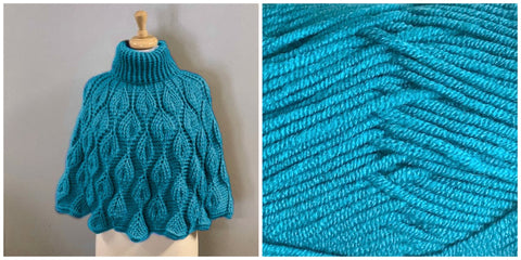 KIT Embossed Leaves Capelet - Turquoise - Solid Fluffy - Bonita Patterns