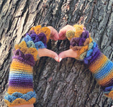 Crocodile Stitch Flat Palm Fingerless Gloves - Bonita Patterns