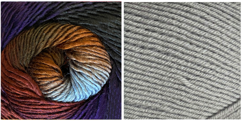 (NEW) LIGHT GREY + GALAXY - Embossed Natura Shawl KIT