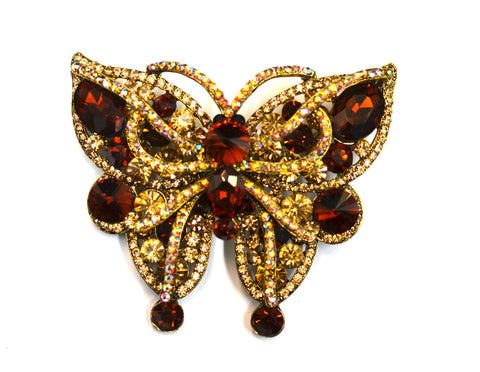 Golden Amber Large Butterfly Brooch