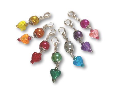 Heart H2 - #001 Set of 7 Stitch Markers