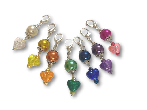Heart H2 - #002 Set of 7 Stitch Markers