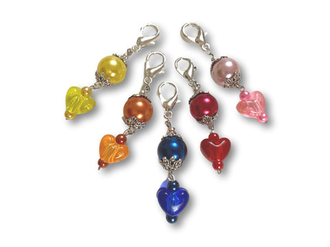 Heart H2 - #005 Set of 5 Stitch Markers