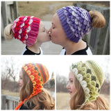 Duo Crocodile Stitch Capuche Hood & Messy Bun Hats