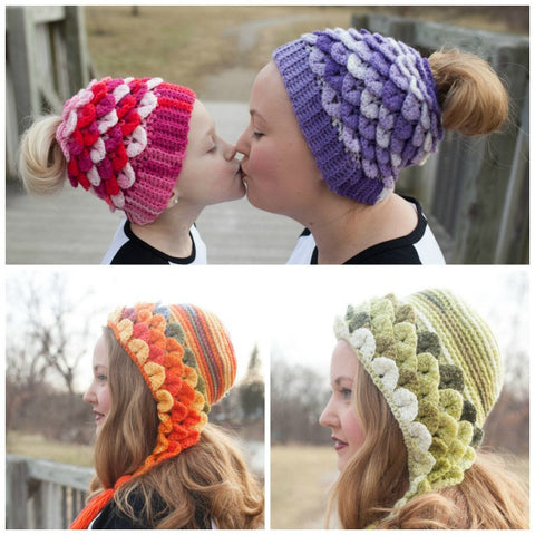 Duo Crocodile Stitch Capuche Hood & Messy Bun Hats - Bonita Patterns