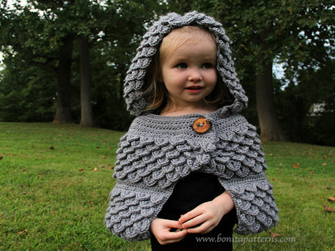Crocodile Stitch Hooded Cape (baby & kids)