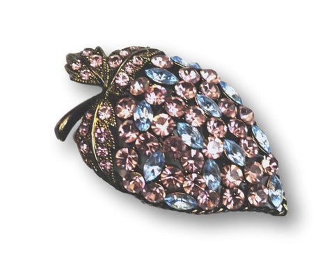 Marcasite Pink Blue Gems Brooch - Bonita Patterns