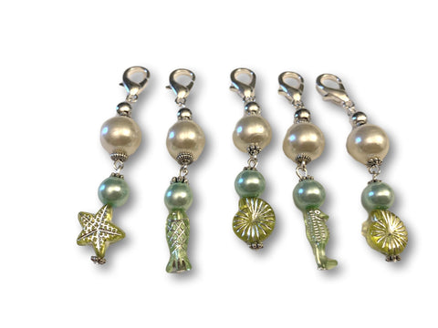 Marine S1 - Ref #012 Set of 5 stitch markers - Bonita Patterns