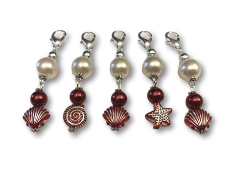 Marine S1 - Ref #014 Set of 5 stitch markers - Bonita Patterns