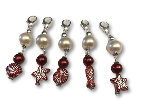 Marine S1 - Ref #015 Set of 5 stitch markers - Bonita Patterns