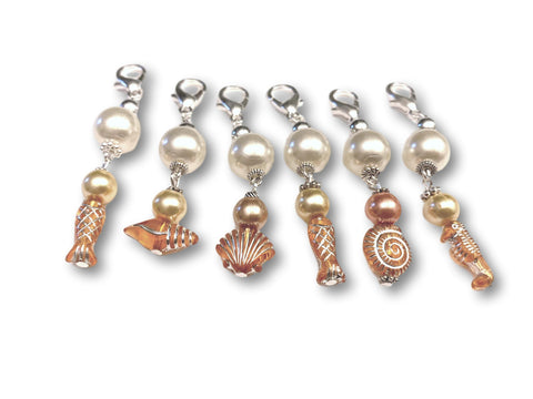 Marine S2 - Ref #016 Set of 6 stitch markers - Bonita Patterns
