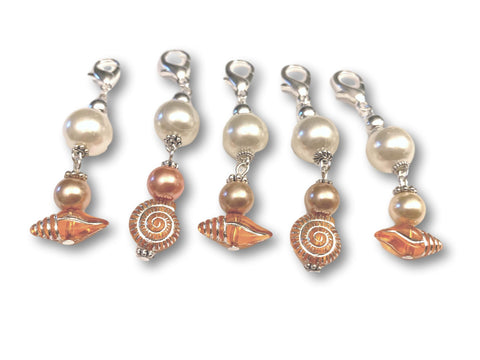 Marine S2 - Ref #017 Set of 5 stitch markers - Bonita Patterns